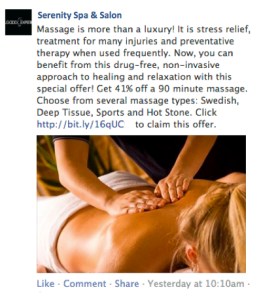 Spa and Salon Facebook Ad in Newsfeed